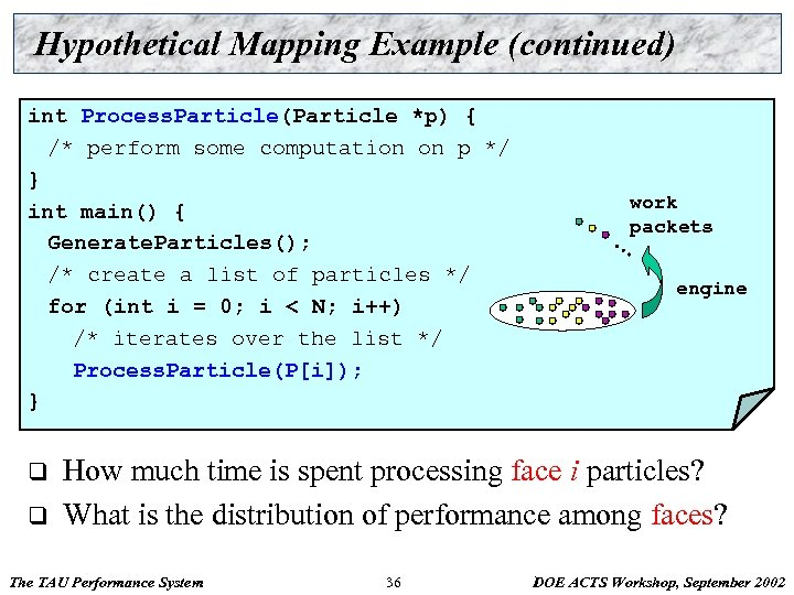 Hypothetical Mapping Example (continued) int Process. Particle(Particle *p) { /* perform some computation on