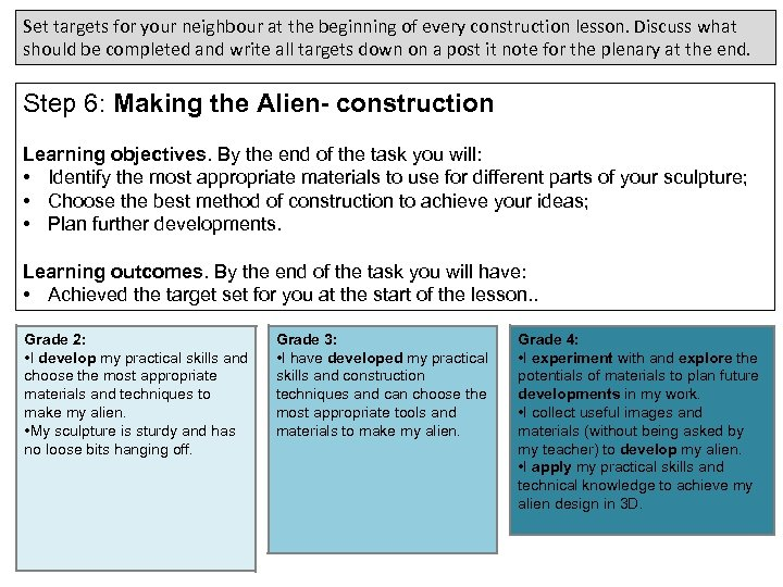 Set targets for your neighbour at the beginning of every construction lesson. Discuss what