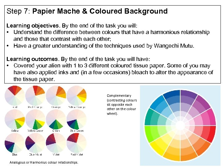 Step 7: Papier Mache & Coloured Background Learning objectives. By the end of the