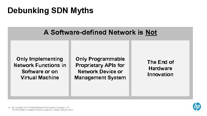 Debunking SDN Myths A Software-defined Network is Not Only Implementing Network Functions in Software