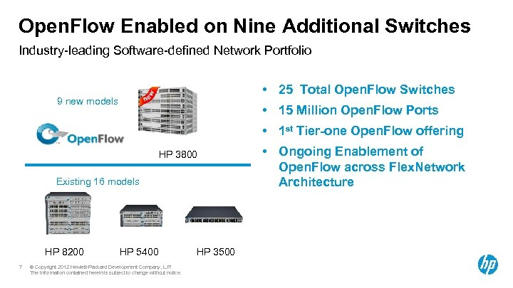 Open. Flow Enabled on Nine Additional Switches Industry-leading Software-defined Network Portfolio • 25 Total