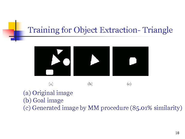 Training for Object Extraction- Triangle (a) Original image (b) Goal image (c) Generated image