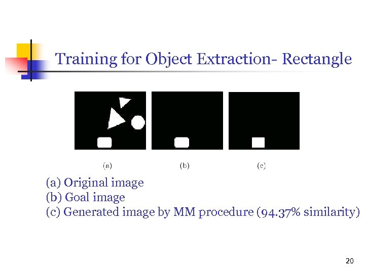 Training for Object Extraction- Rectangle (a) Original image (b) Goal image (c) Generated image
