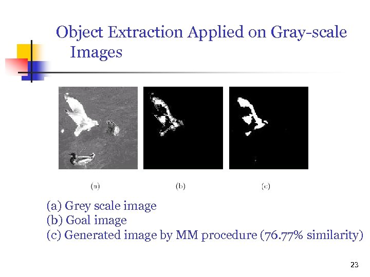 Object Extraction Applied on Gray-scale Images (a) Grey scale image (b) Goal image (c)