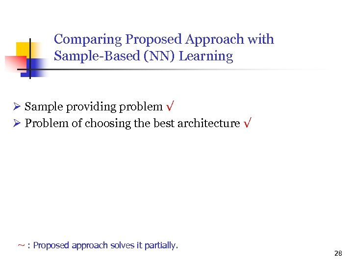 Comparing Proposed Approach with Sample-Based (NN) Learning Sample providing problem √ Problem of choosing