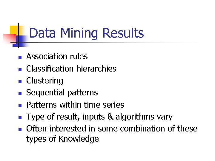 Data Mining Results n n n n Association rules Classification hierarchies Clustering Sequential patterns
