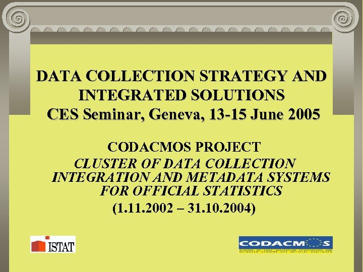 DATA COLLECTION STRATEGY AND INTEGRATED SOLUTIONS CES Seminar, Geneva, 13 -15 June 2005 CODACMOS