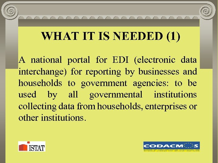 WHAT IT IS NEEDED (1) A national portal for EDI (electronic data interchange) for
