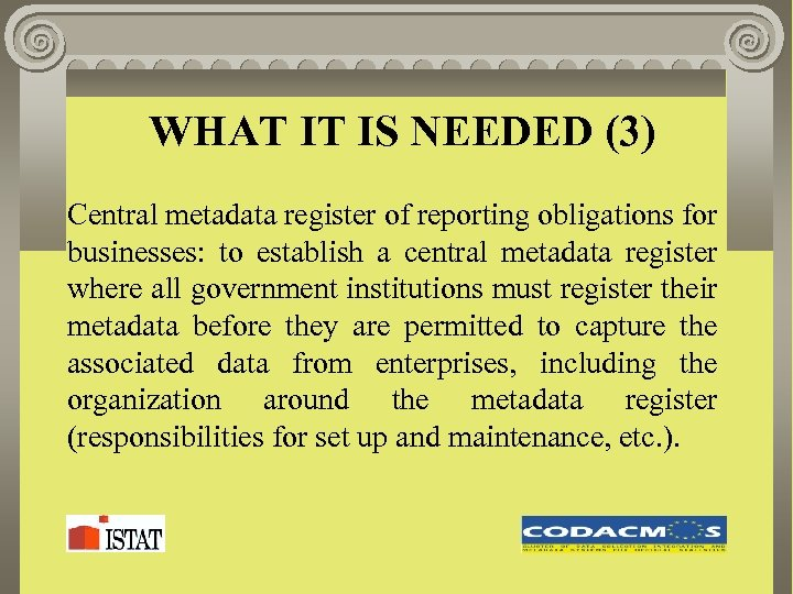 WHAT IT IS NEEDED (3) Central metadata register of reporting obligations for businesses: to