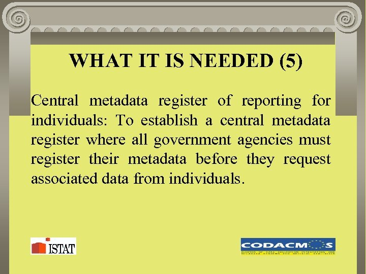 WHAT IT IS NEEDED (5) Central metadata register of reporting for individuals: To establish