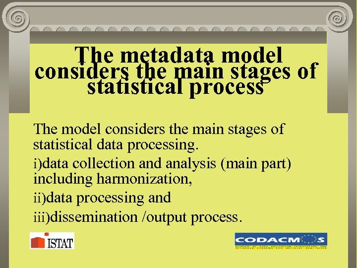 The metadata model considers the main stages of statistical process The model considers the
