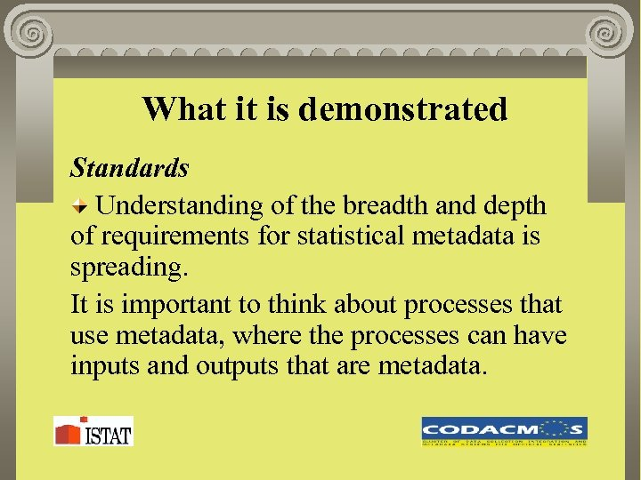 What it is demonstrated Standards Understanding of the breadth and depth of requirements for