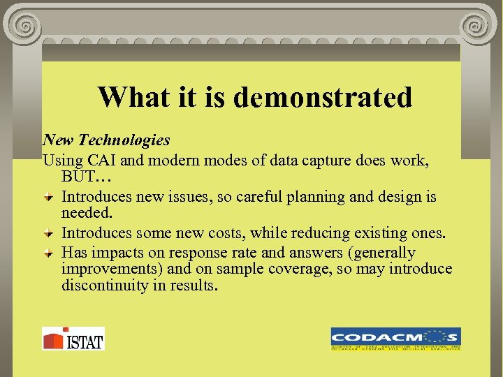What it is demonstrated New Technologies Using CAI and modern modes of data capture