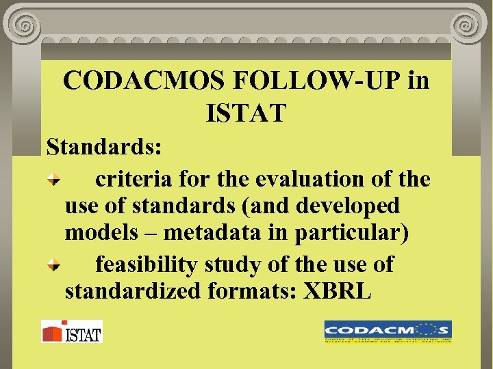 CODACMOS FOLLOW-UP in ISTAT Standards: criteria for the evaluation of the use of standards