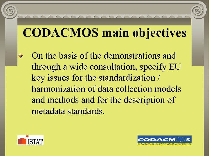 CODACMOS main objectives On the basis of the demonstrations and through a wide consultation,