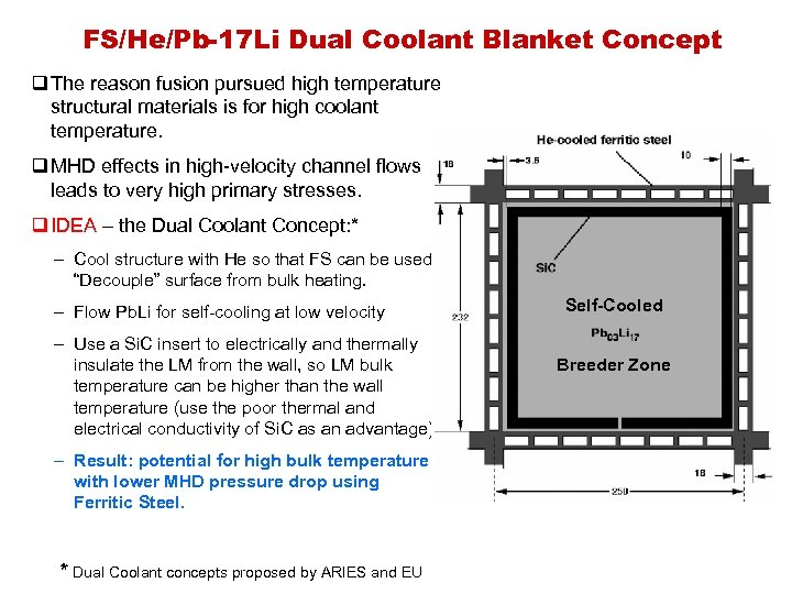 FS/He/Pb-17 Li Dual Coolant Blanket Concept q The reason fusion pursued high temperature structural
