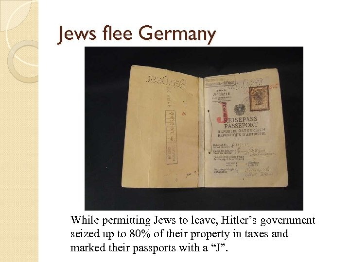 Jews flee Germany While permitting Jews to leave, Hitler's government seized up to 80%