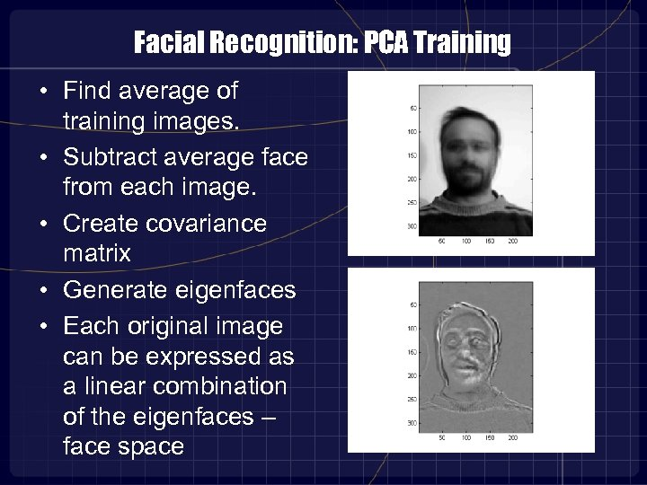 Facial Recognition: PCA Training • Find average of training images. • Subtract average face
