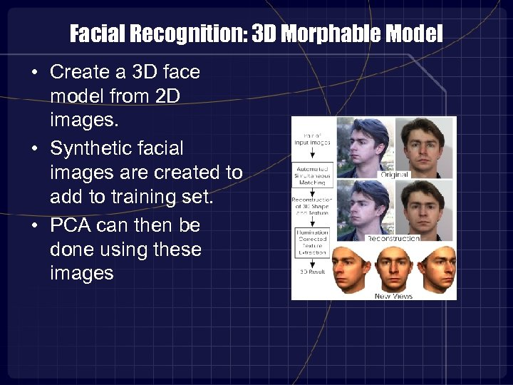 Facial Recognition: 3 D Morphable Model • Create a 3 D face model from