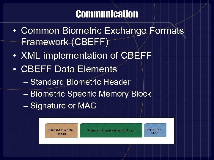 Communication • Common Biometric Exchange Formats Framework (CBEFF) • XML implementation of CBEFF •