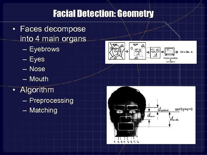Facial Detection: Geometry • Faces decompose into 4 main organs – – Eyebrows Eyes