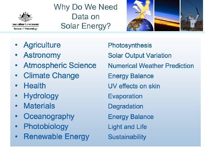 Why Do We Need Data on Solar Energy?