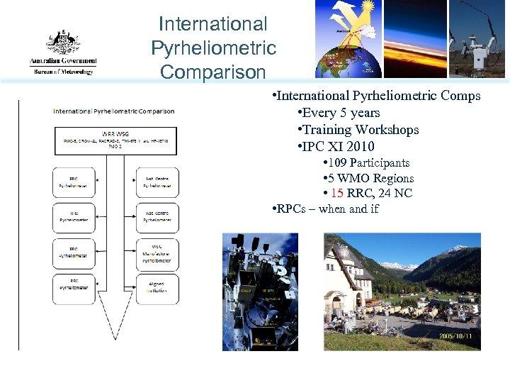 International Pyrheliometric Comparison • International Pyrheliometric Comps • Every 5 years • Training Workshops