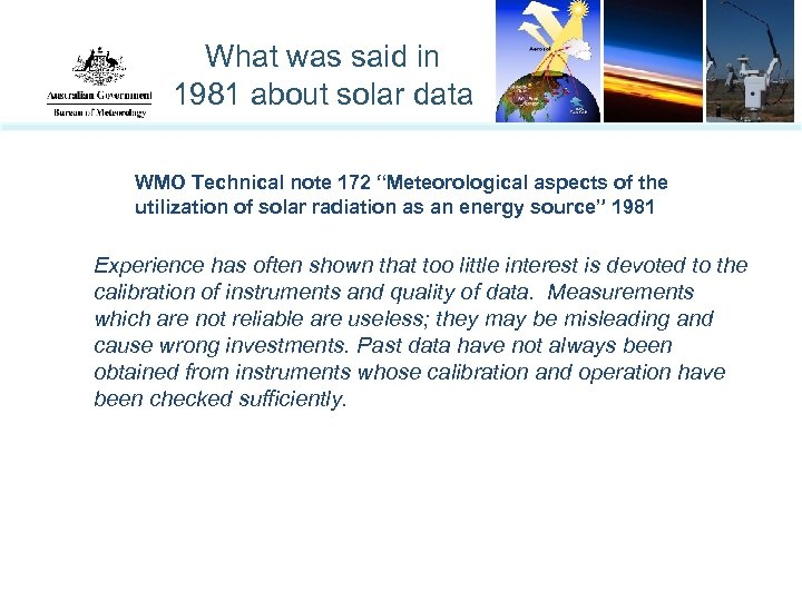 "What was said in 1981 about solar data WMO Technical note 172 ""Meteorological aspects"