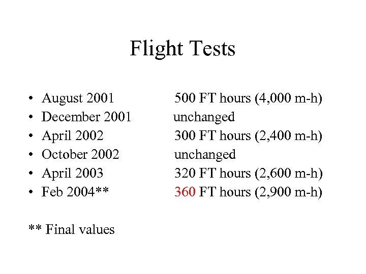 Flight Tests • • • August 2001 December 2001 April 2002 October 2002 April