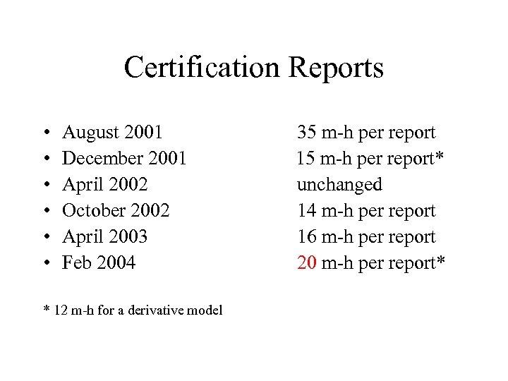 Certification Reports • • • August 2001 December 2001 April 2002 October 2002 April