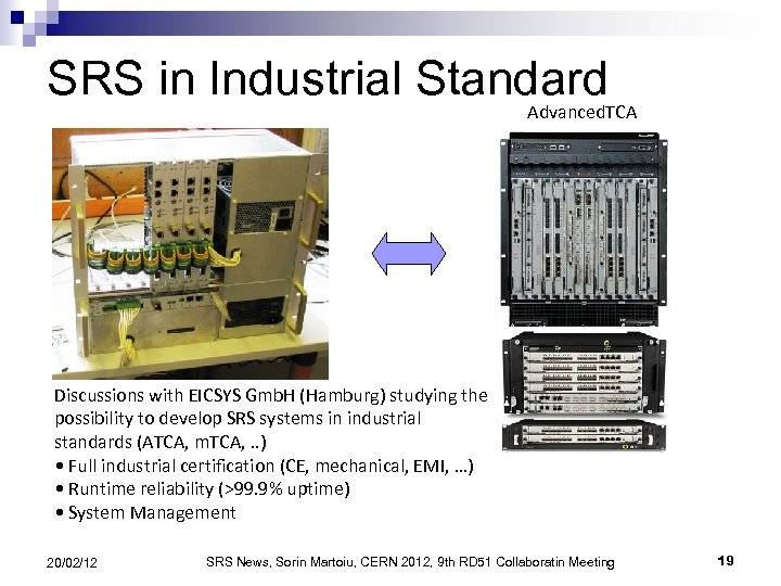 SRS in Industrial Standard Advanced. TCA Discussions with EICSYS Gmb. H (Hamburg) studying the