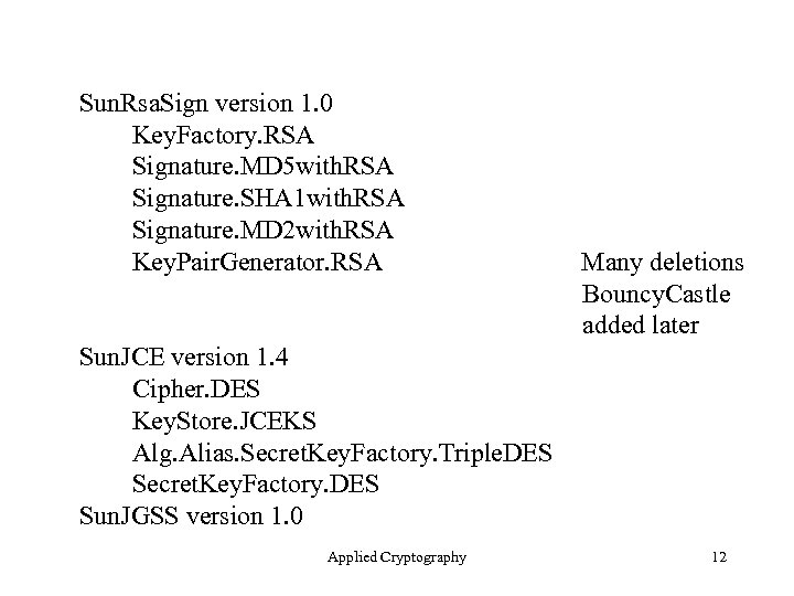 Sun. Rsa. Sign version 1. 0 Key. Factory. RSA Signature. MD 5 with. RSA