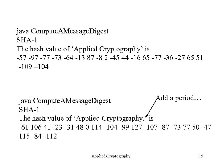 java Compute. AMessage. Digest SHA-1 The hash value of 'Applied Cryptography' is -57 -97