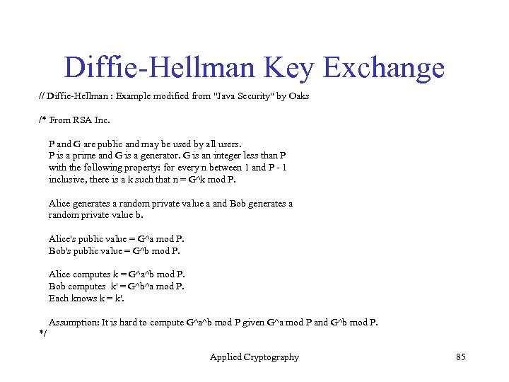 Diffie-Hellman Key Exchange // Diffie-Hellman : Example modified from