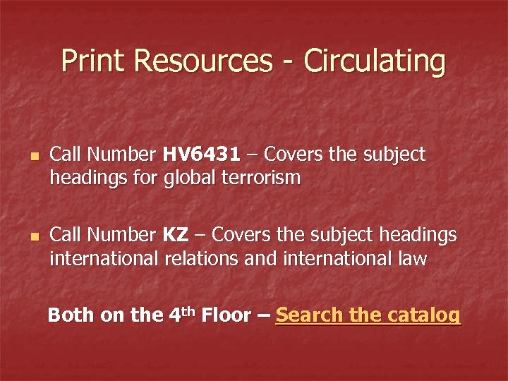 Print Resources - Circulating n n Call Number HV 6431 – Covers the subject