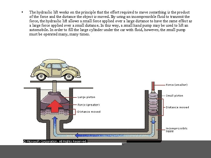 • The hydraulic lift works on the principle that the effort required to