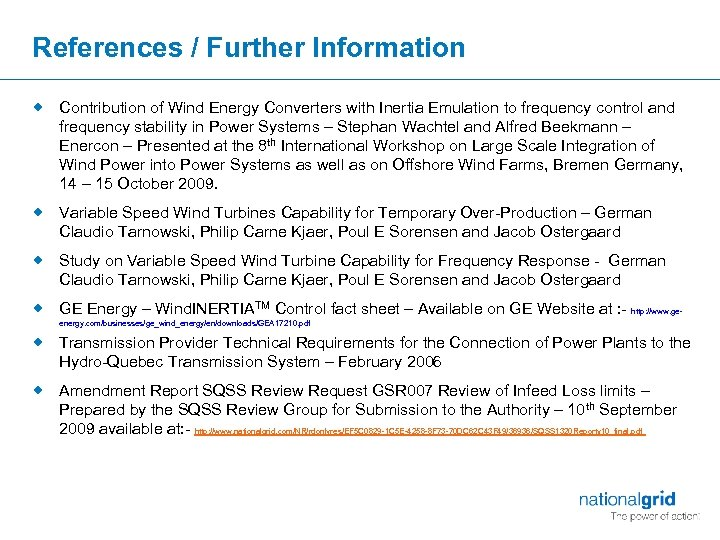 References / Further Information ® Contribution of Wind Energy Converters with Inertia Emulation to