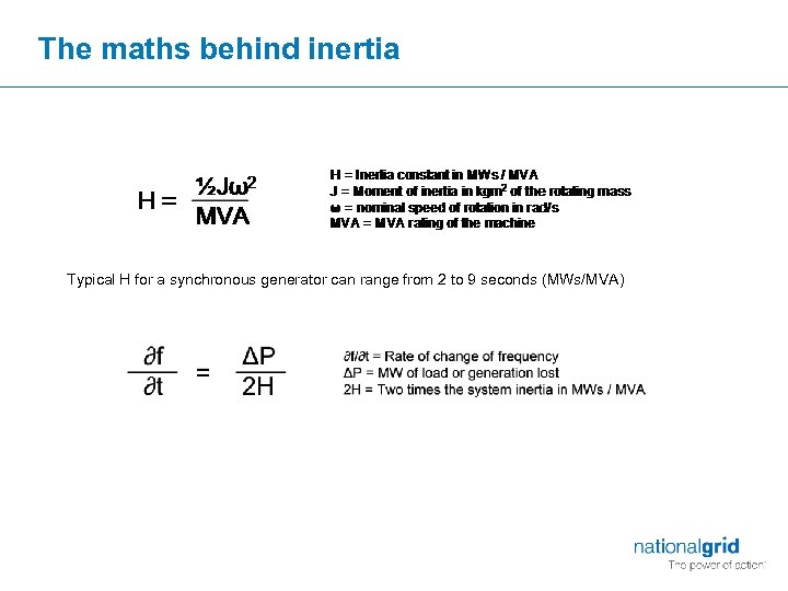 The maths behind inertia Typical H for a synchronous generator can range from 2