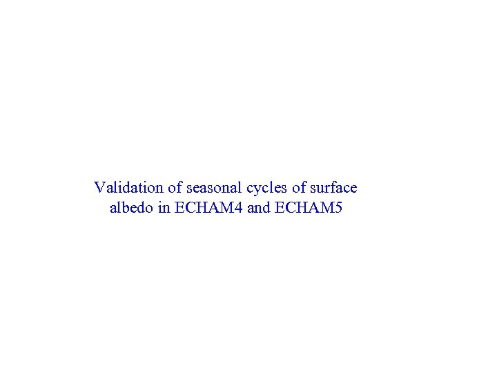 Validation of seasonal cycles of surface albedo in ECHAM 4 and ECHAM 5
