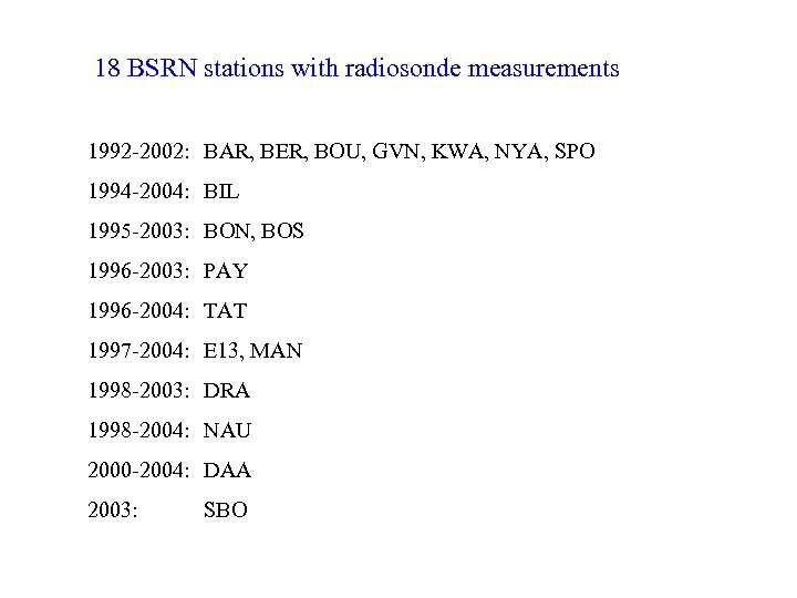 18 BSRN stations with radiosonde measurements 1992 -2002: BAR, BER, BOU, GVN, KWA, NYA,