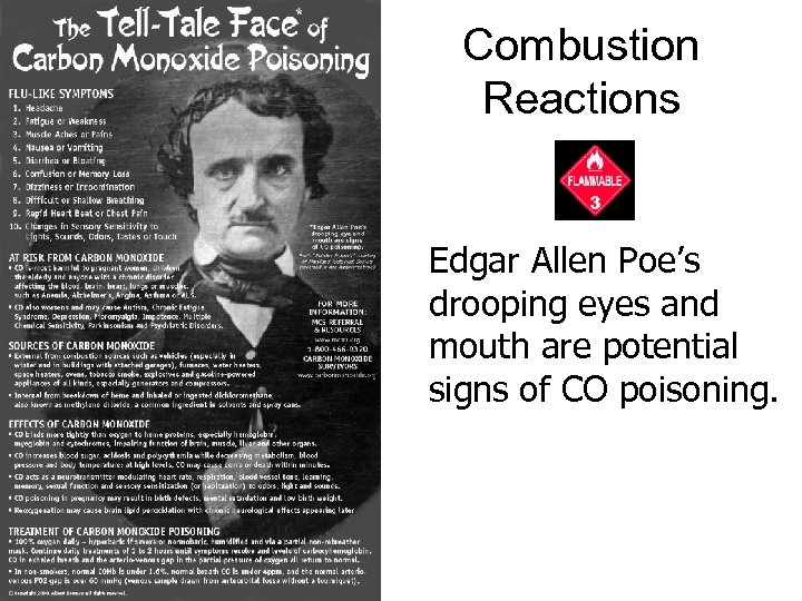 Combustion Reactions Edgar Allen Poe's drooping eyes and mouth are potential signs of CO