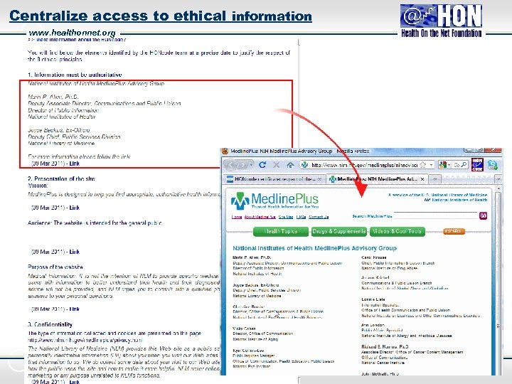 Centralize access to ethical information www. healthonnet. org