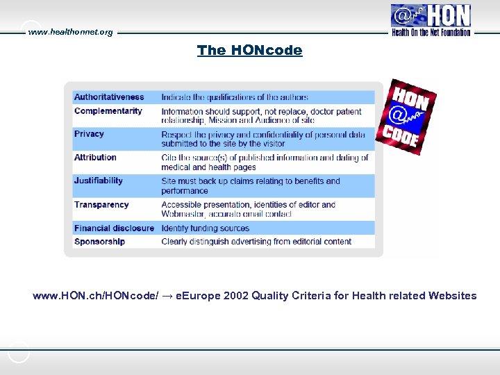 www. healthonnet. org The HONcode www. HON. ch/HONcode/ → e. Europe 2002 Quality Criteria