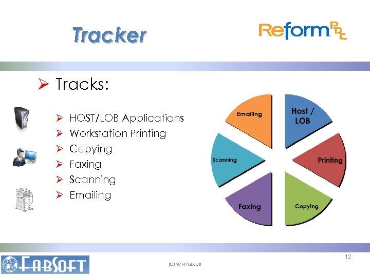 Tracker Ø Tracks: Ø Ø Ø HOST/LOB Applications Workstation Printing Copying Faxing Scanning Emailing