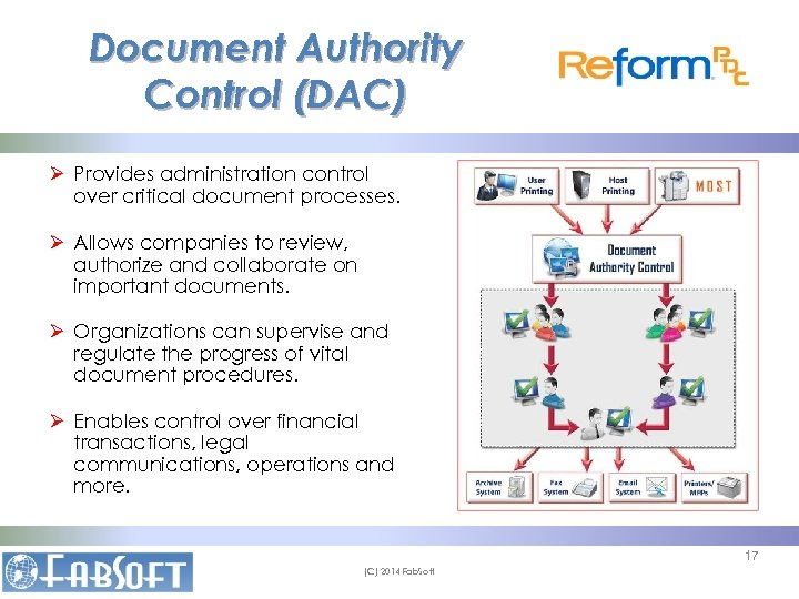 Document Authority Control (DAC) Ø Provides administration control over critical document processes. Ø Allows