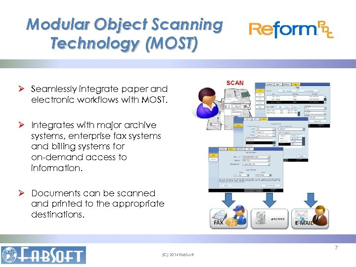 Modular Object Scanning Technology (MOST) Ø Seamlessly integrate paper and electronic workflows with MOST.