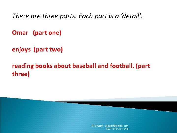 There are three parts. Each part is a 'detail'. Omar (part one) enjoys (part