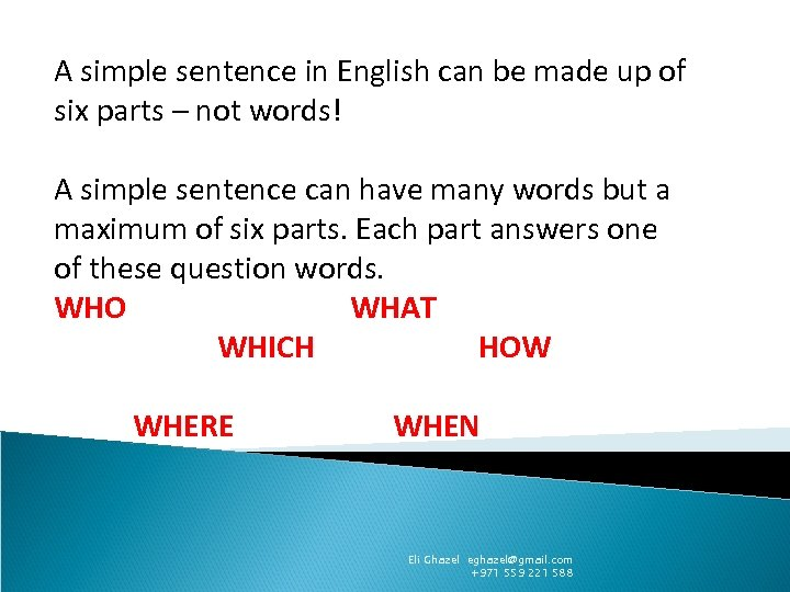A simple sentence in English can be made up of six parts – not