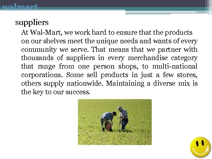 walmart suppliers At Wal-Mart, we work hard to ensure that the products on our