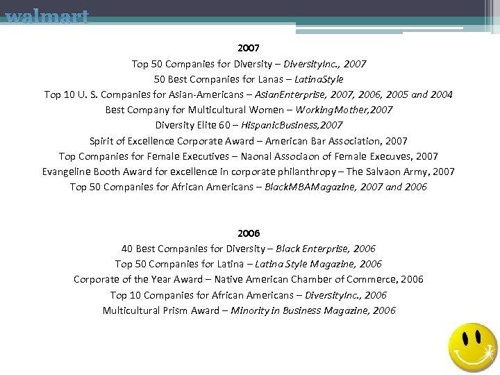 walmart 2007 Top 50 Companies for Diversity – Diversity. Inc. , 2007 50 Best